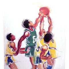 <I>' Basketbal ' <BR>ingelijste poster - Anneke Dekkers</I>