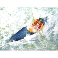 <I>' Canoeing '<BR> ingelijste poster - Anneke Dekkers</I>