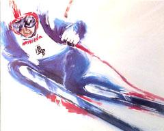 <I>' Skiën  BL '<BR>ingelijste poster - Anneke Dekkers</I>