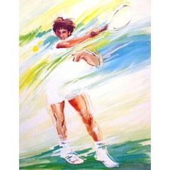 <I>' Tennis  '<BR>ingelijste poster - Anneke Dekkers</I>