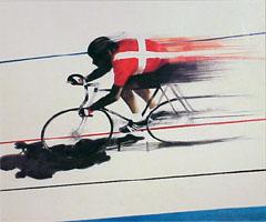 <I>' Baanrenner '<BR>ingelijste poster - Anneke Dekkers</I>