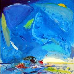 <I>' Zwemmen blauw ' 95 '<BR> Jan van Diemen</I>
