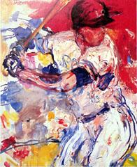 <I>' Honkbal ' <BR>ingelijste poster - Jan van Diemen</I>