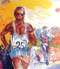 <I>' Marathon 25 '<BR>ingelijste poster - Jan van Diemen</I>