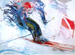 <I>' Skiër '<BR>ingelijste poster - Jan van Diemen</I>