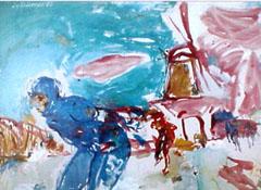 <I>' Schaatser '<BR>ingelijste poster - Jan van Diemen</I>