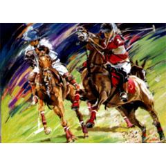 <I>' Horse Polo - H '<BR>ingelijste poster - Jan Hofland</I>
