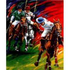 <I>' Horse Polo - V '<BR>ingelijste poster - Jan Hofland</I>