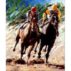 <I>' Horse Racing '<BR>ingelijste poster - Jan Hofland</I>