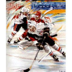 <I>' Icehockey  8 '<BR>ingelijste poster - Jan Hofland</I>