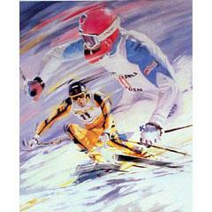 <I>' Skiën  11 SUB '<BR>ingelijste poster - Jan Hofland</I>