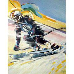 <I>' Skiën  8 '<BR>ingelijste poster - Jan Hofland</I>