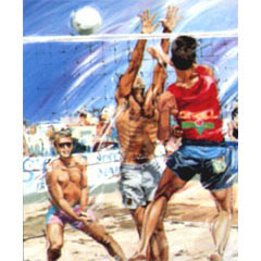 <I>' Beach Volleyball  '<BR>ingelijste poster - Jan Hofland</I>
