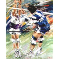 <I>' Volleybal  '<BR>ingelijste poster - Jan Hofland</I>