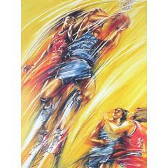 <I>' Basketbal ' <BR>ingelijste poster - Lia van Hengstum</I>