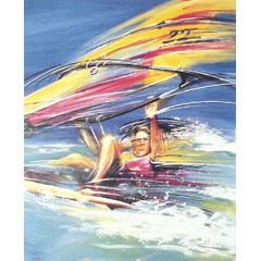 <I>' Surfen '<BR>ingelijste poster - Lia van Hengstum</I>