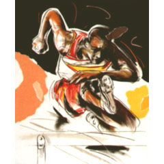 <I>' Hurdle '<BR>ingelijste poster - Mari Hofman</>