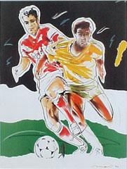 <I>' Soccer Duel '<BR>ingelijste poster - Mari Hofman</I>