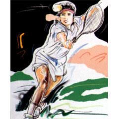 <I>' Tennis '<BR>ingelijste poster <BR> Mari Hofman</I>