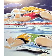 <I>' Swimming '<BR>ingelijste poster <BR> Mari Hofman</I>