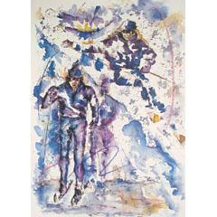 <I>' Skiën '<BR>ingelijste poster - Petra Scholl</I>