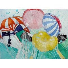 <I>' Compositie Parachutes ' <BR> Riëtte Butôt</I>