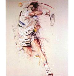 <I>' Tennis ' - ingelijste poster <BR>Twan van de Vorstenbosch</I>