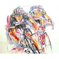 <I>' Cycling ' - ingelijste poster <BR>Twan van de Vorstenbosch</I>