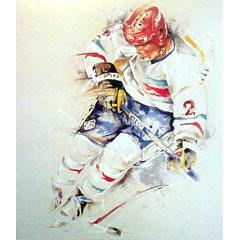 <I>' Icehockey 2 ' ingelijste poster <BR>Twan van de Vorstenbosch</I>