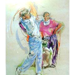 <I>' Golf ' ingelijste poster <BR> Twan van de Vorstenbosch</I>