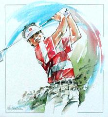 <I>' Golf ' <BR>ingelijste poster - Wim Hoogstraten</I>
