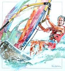 <I>' Surfing '<BR>ingelijste poster - Wim Hoogstraten</I>