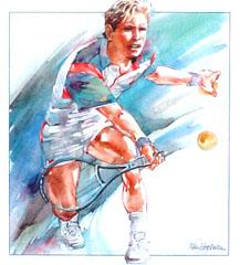 <I>'  Tennis '<BR>ingelijste poster - Wim Hoogstraten</I>