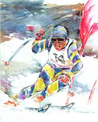 <I>' Skiën -14 '<BR>ingelijste poster - Wim Hoogstraten</I>