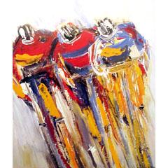 <I>' Cycling Trio '<BR>ingelijste poster - Wil Willemsen</I>