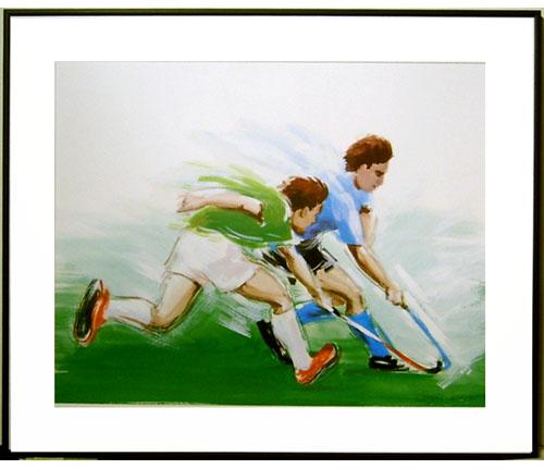 <I>' Hockey '<BR> ingelijste poster - Anneke Dekkers</I>