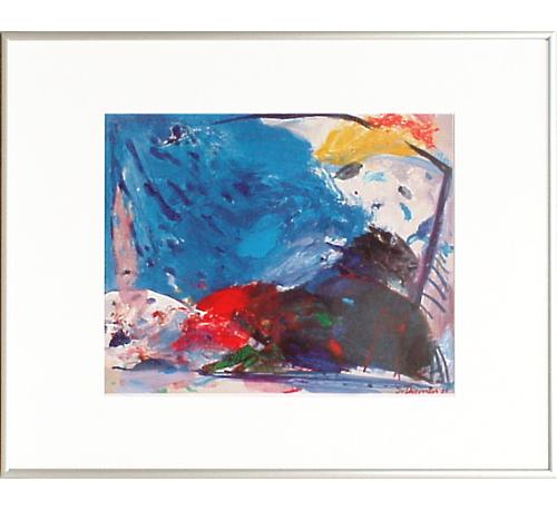 <I>'  Skiën ' <BR>ingelijste poster - Jan van Diemen</I>