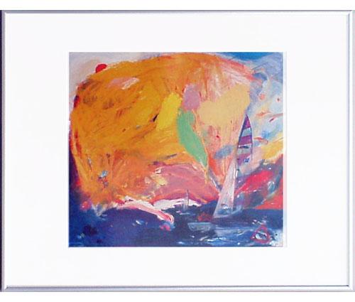 <I>'  Catamaran ' <BR>ingelijste poster - Jan van Diemen</I>