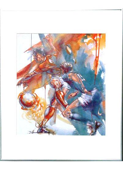 <I>' Soccer R-B '<BR>ingelijste poster - Ortho Owen</I>