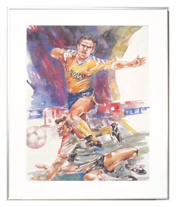 <I>' Voetbal K '<BR>ingelijste poster - Wim Hoogstraten</I>
